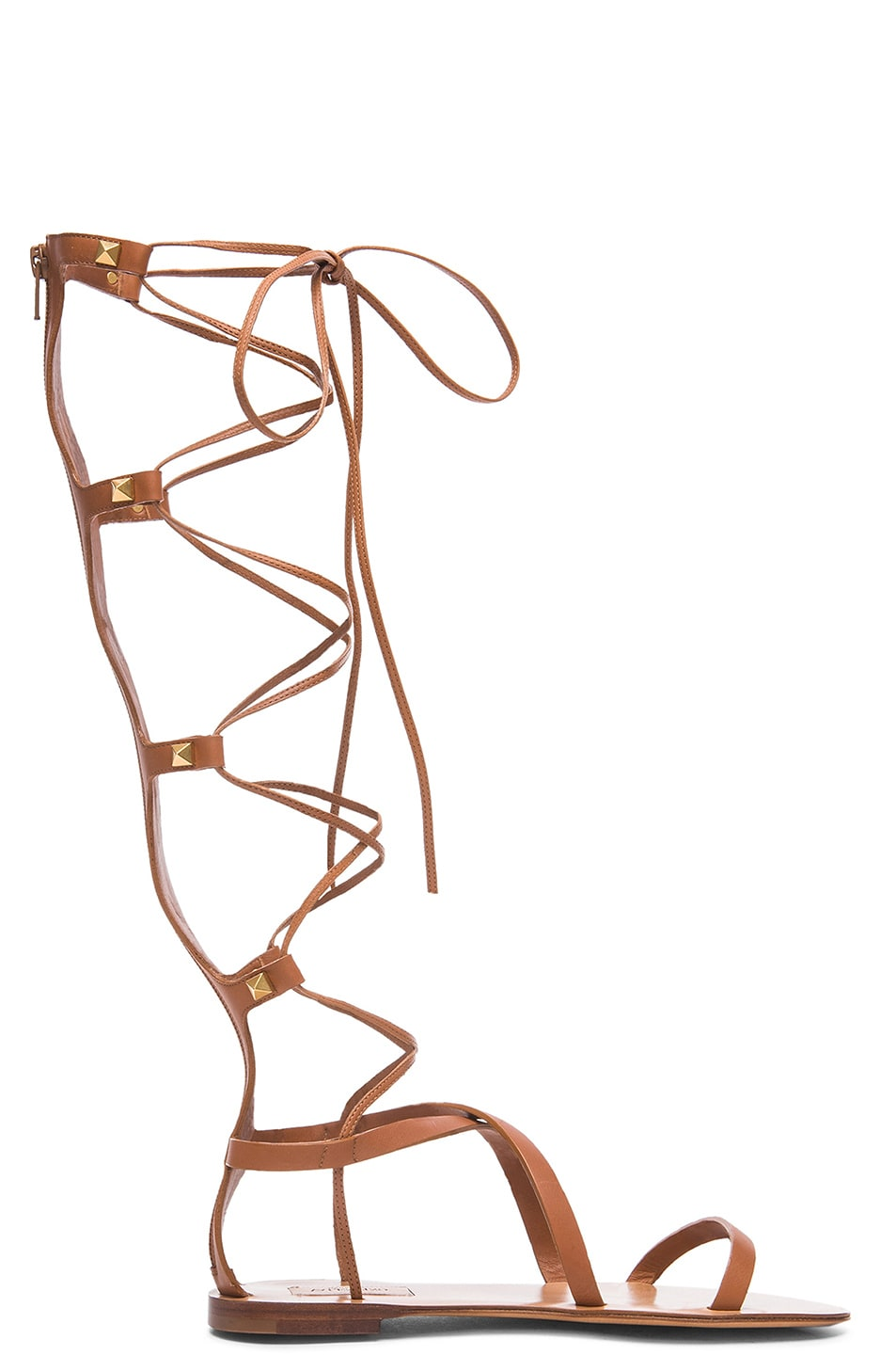 Image 1 of Valentino Rockstud Leather Gladiator Sandals in Light Cuir