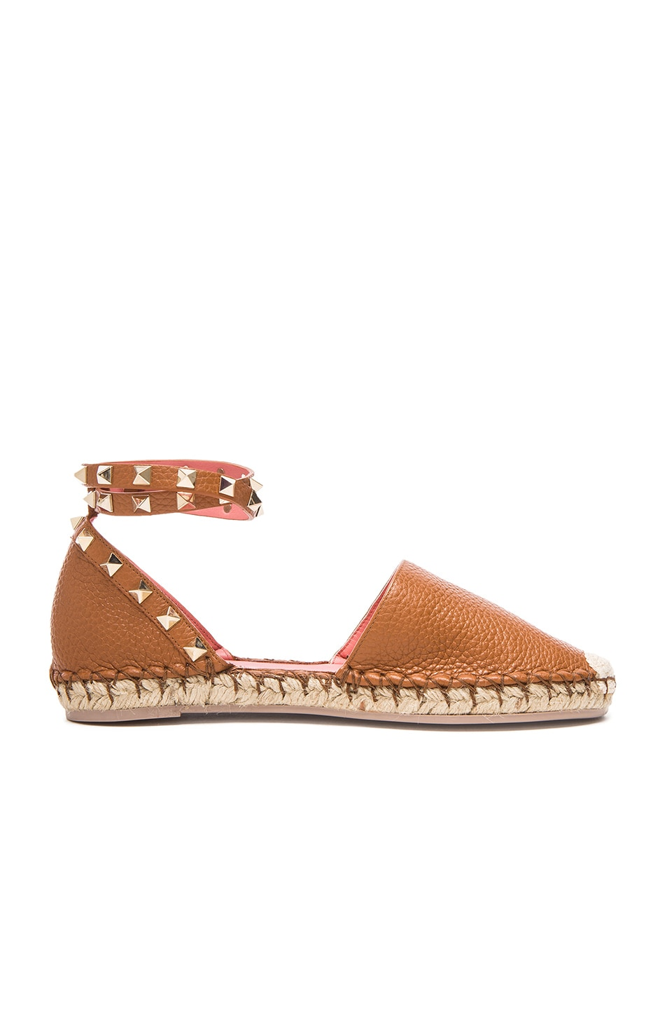 Image 1 of Valentino Rockstud Double Flat Leather Espadrilles in Light Cuir