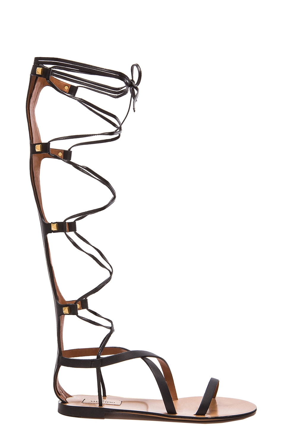 Image 1 of Valentino Rockstud Leather Gladiator Sandals in Black