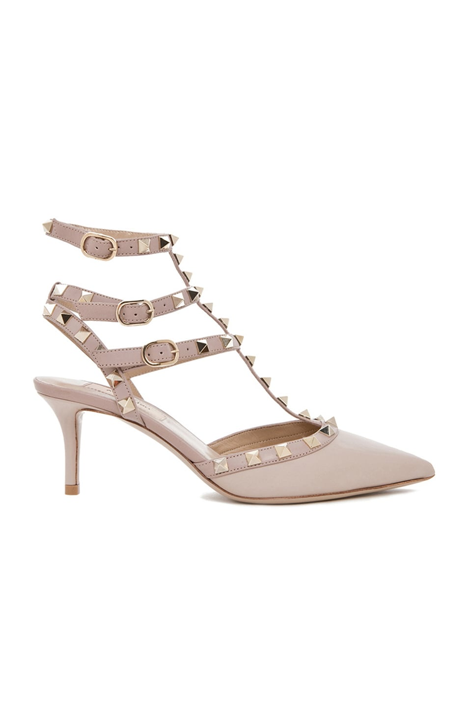 d2c4234d4047 Image 1 of Valentino Rockstud Leather Slingbacks T.65 in Powder