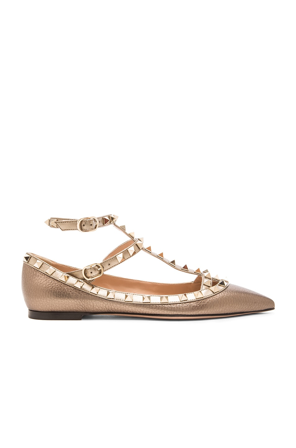 Image 1 of Valentino Rockstud Leather Cage Flats in Bronze