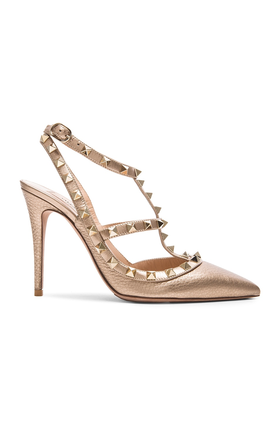 Rockstud Slingback 100 Sandals in Gold Metallic Leather Valentino aN8ShlrjK