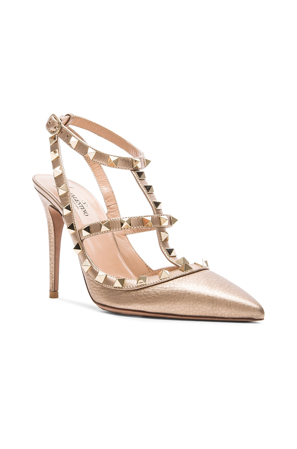 8fce4f8e7d42 Image 2 of Valentino Rockstud Leather Slingbacks T.100 in Rose Gold