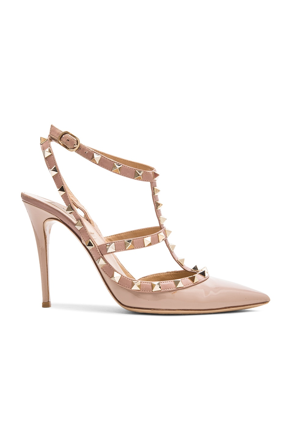 Image 1 of Valentino Rockstud Patent Leather Slingbacks T.100 in Poudre