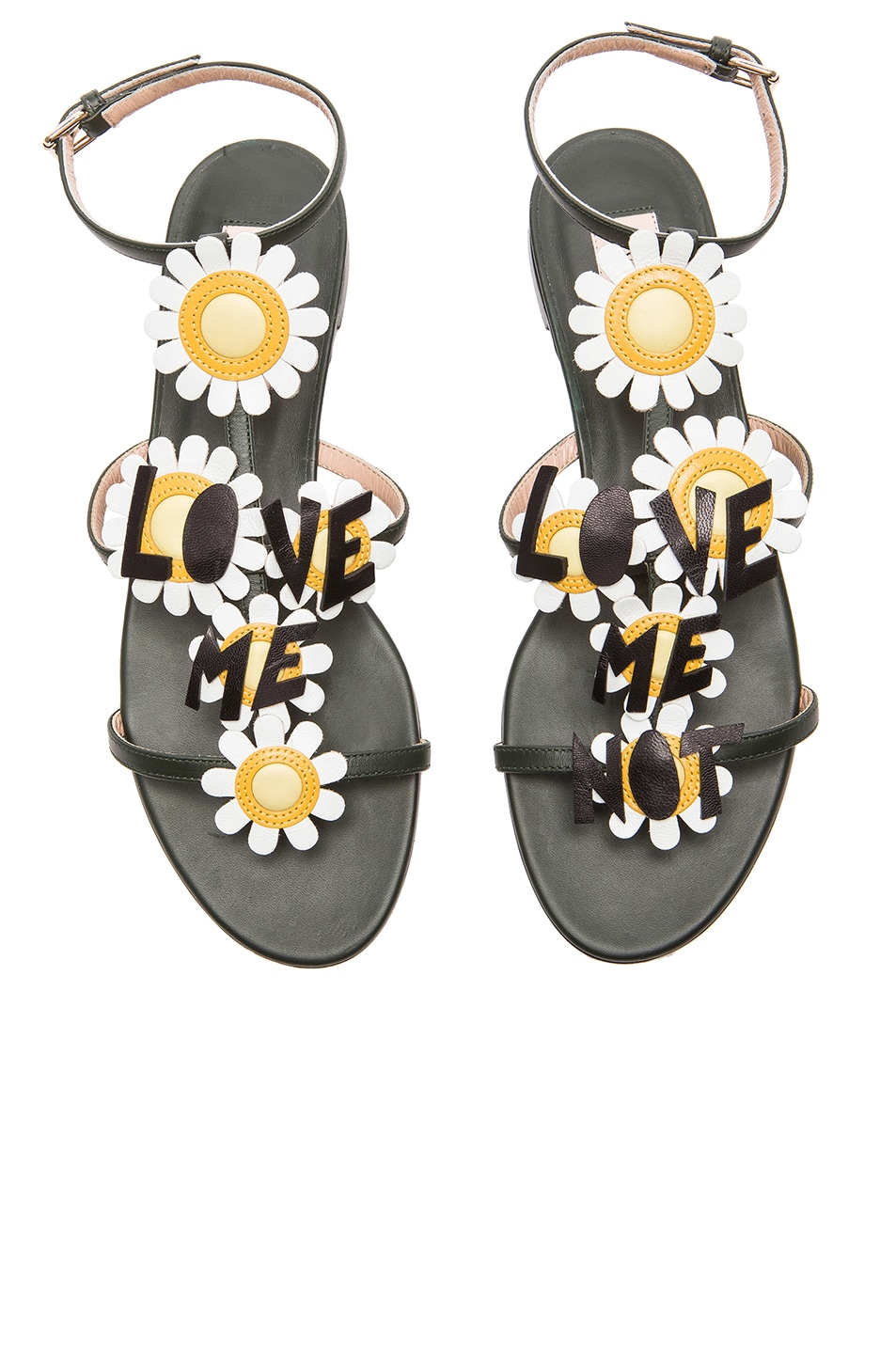 Image 1 of Valentino Love Me Love Me Not Leather Sandals in Pine