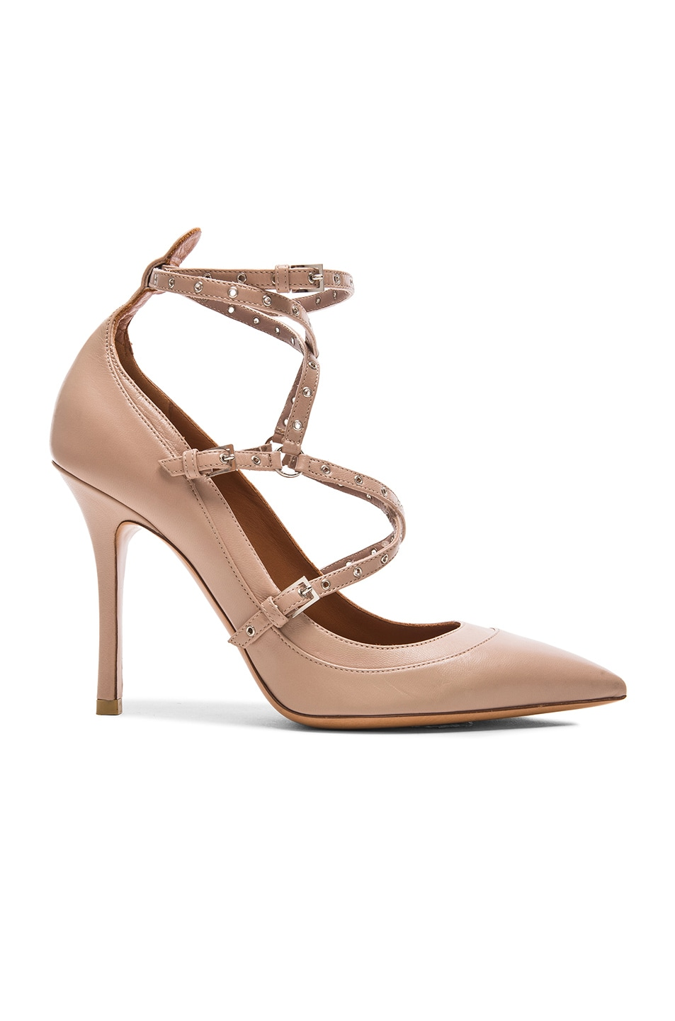 Image 1 of Valentino Love Latch Ankle Strap Leather Heels in Poudre