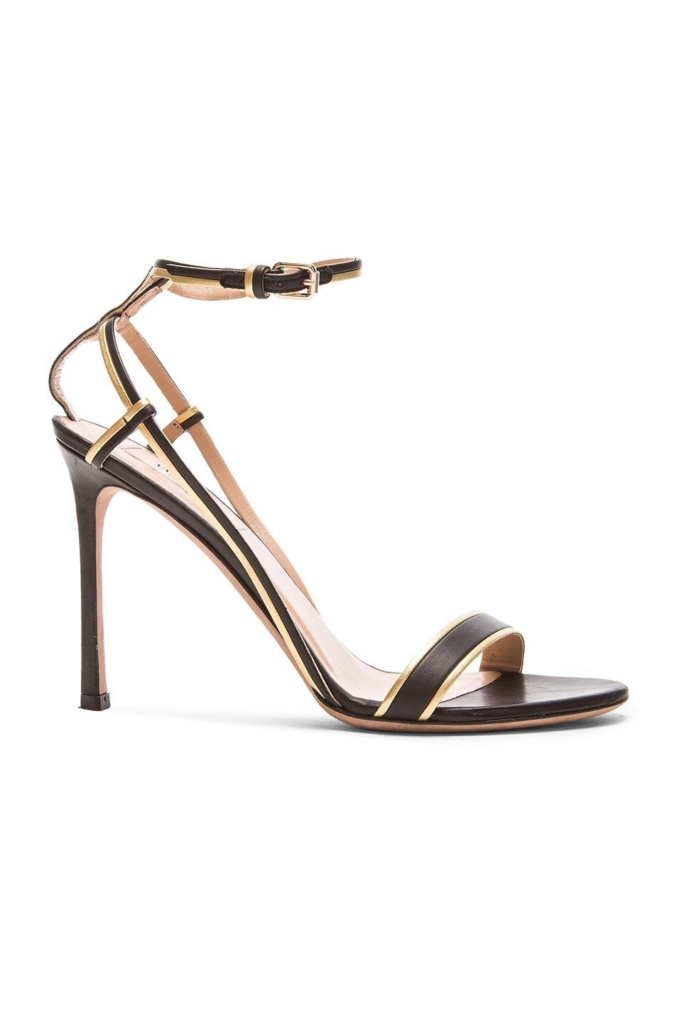 Image 1 of Valentino Emilie Leather T.100 Sandals in Black & Gold