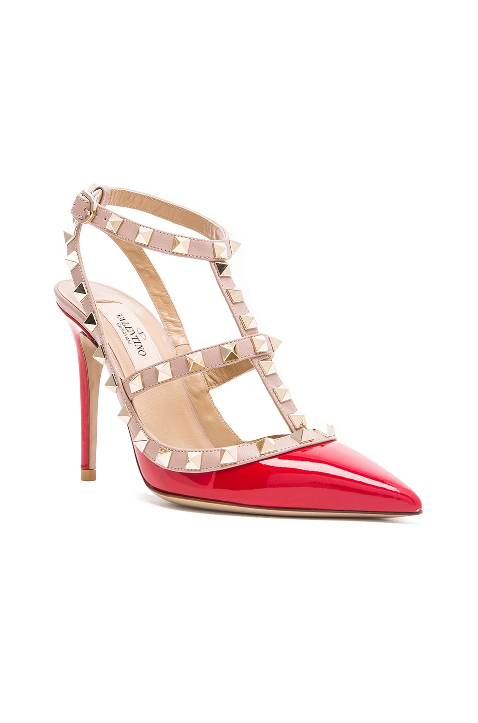 Image 2 of Valentino Rockstud Patent Leather Slingbacks T.100 in Rosso