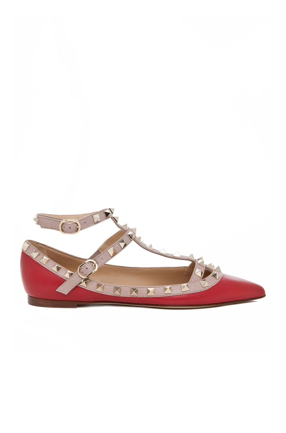 Image 1 of Valentino Rockstud Leather Cage Flats in Red