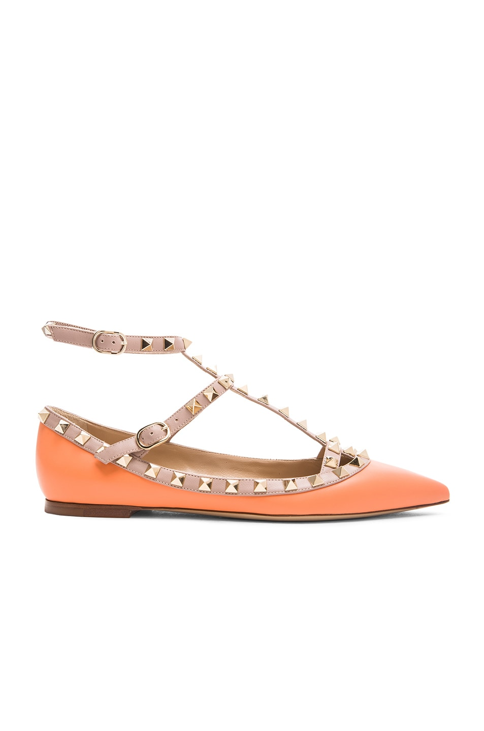 Image 1 of Valentino Rockstud Cage Flats in Melon Sorbet & Poudre