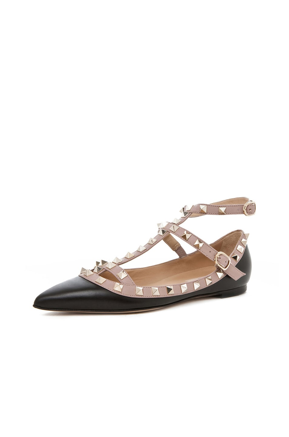 Image 2 of Valentino Rockstud Leather Cage Flats in Black