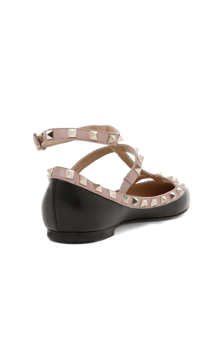 Image 3 of Valentino Rockstud Leather Cage Flats in Black