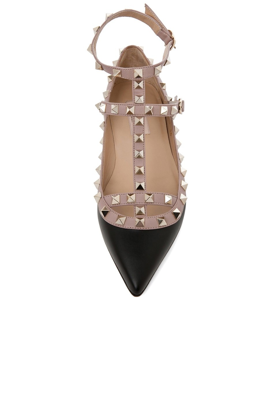 Image 4 of Valentino Rockstud Leather Cage Flats in Black
