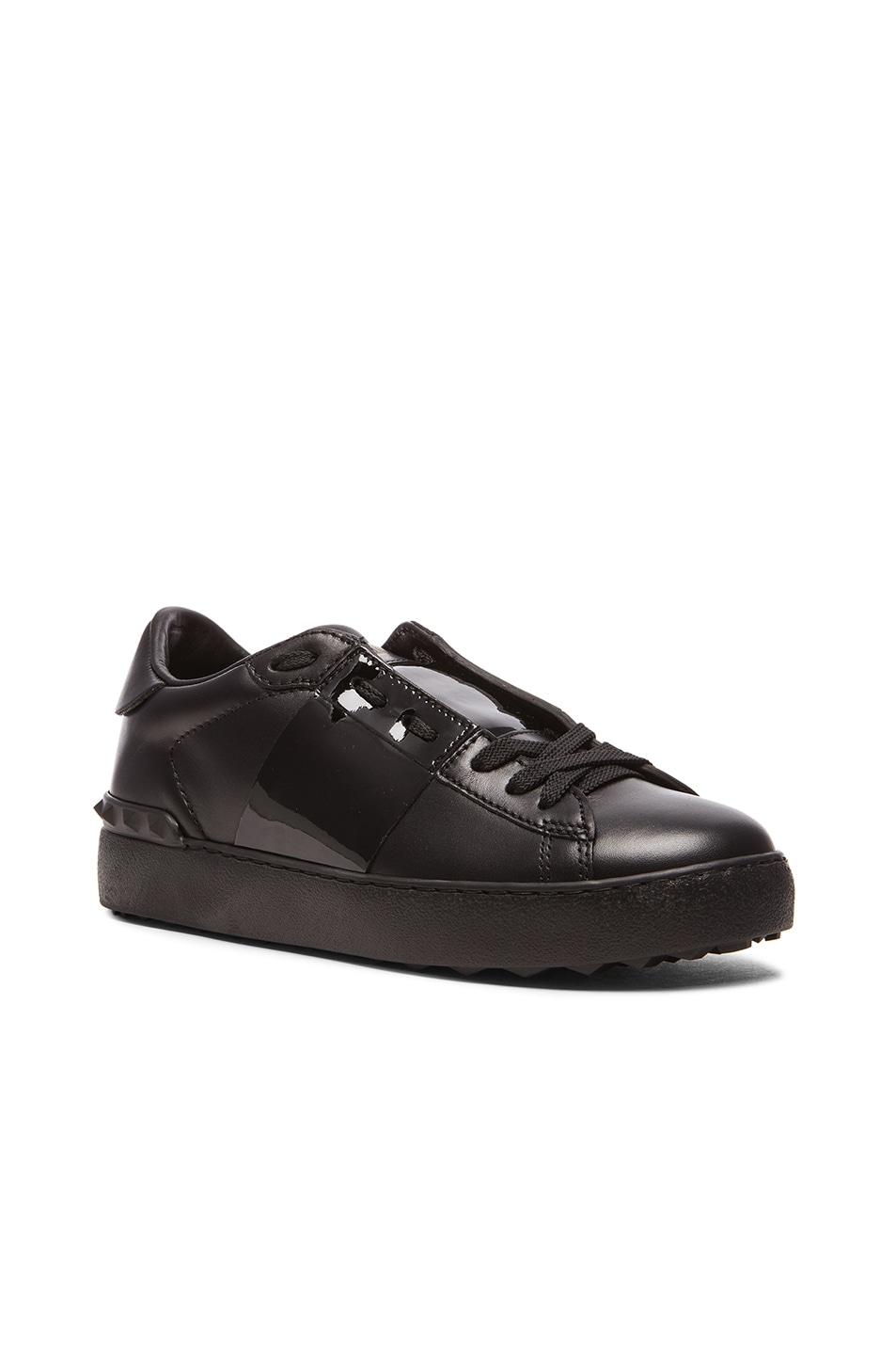 dfc7d012cc0 Image 2 of Valentino Open Low Top Leather Sneakers in Black