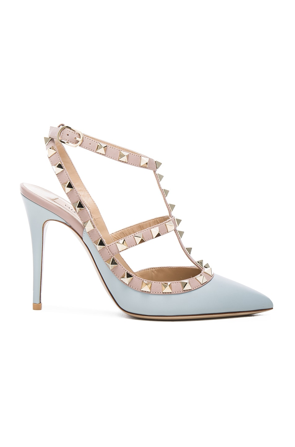 Image 1 of Valentino Rockstud Leather Slingbacks T.100 in Sky Sorbet