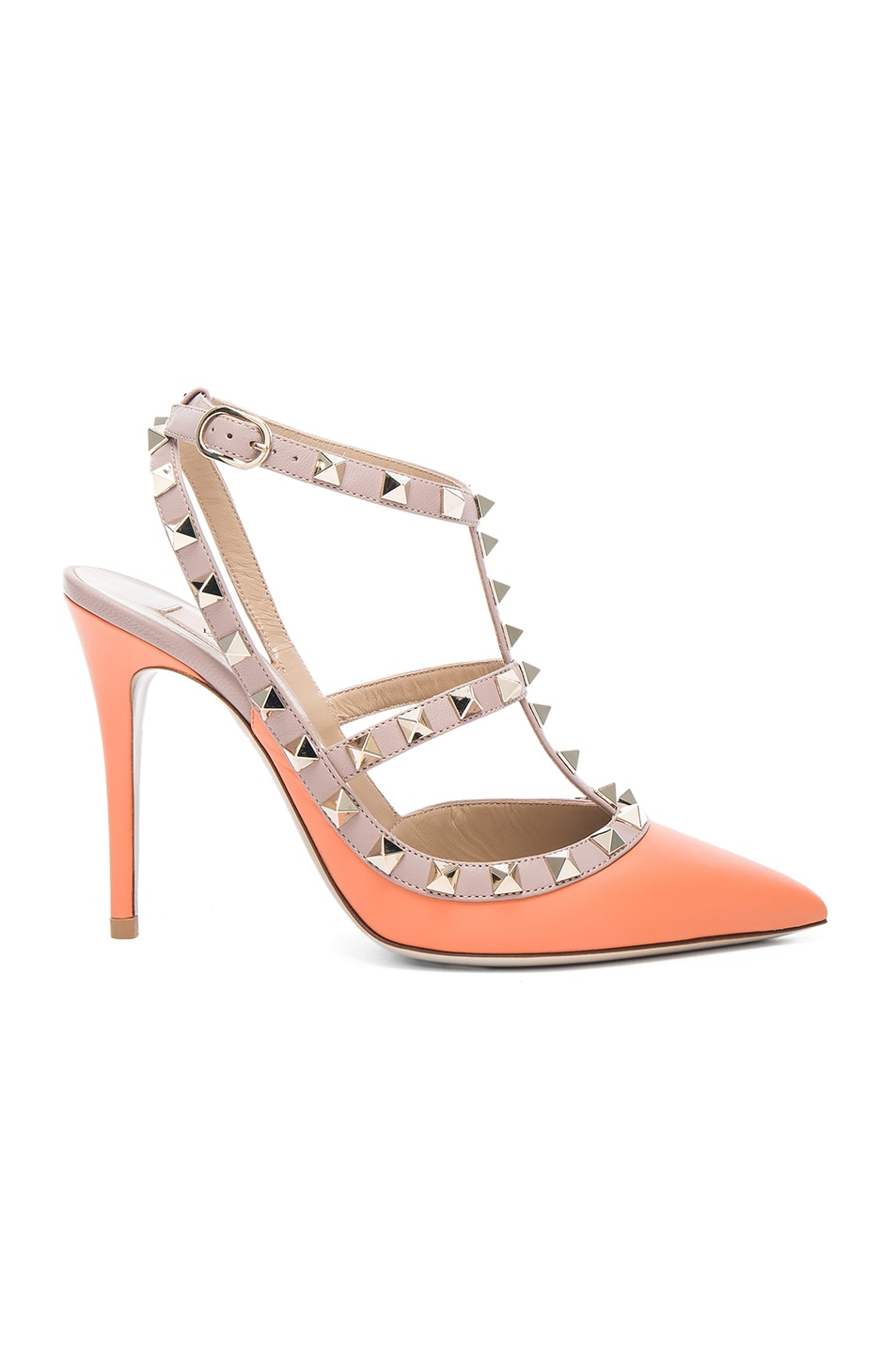 Image 1 of Valentino Rockstud Leather Slingbacks T.100 in Melon Sorbet