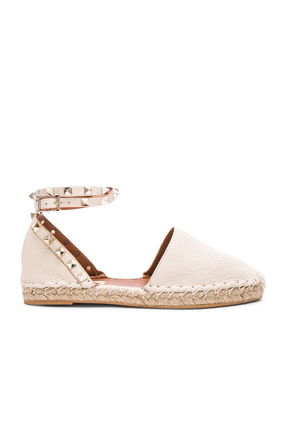 Image 1 of Valentino Rockstud Double Flat Leather Espadrilles in Light Ivory