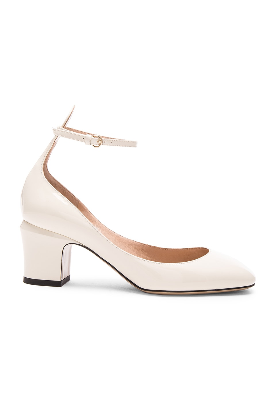 Image 1 of Valentino Patent Leather Tan-Go Pumps in Light Ivory