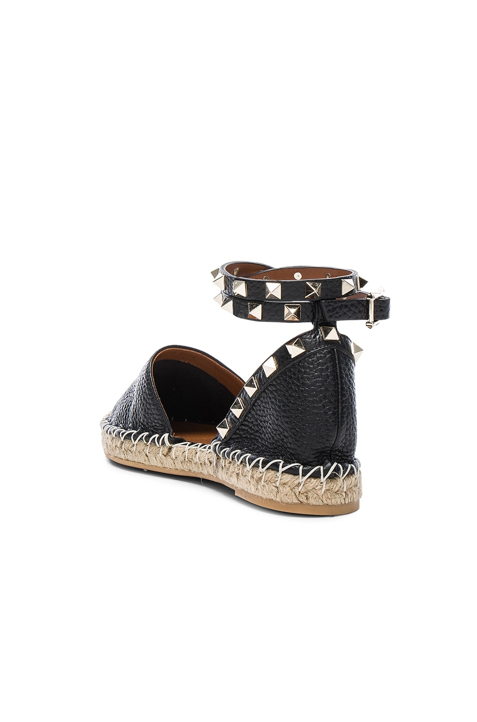 Image 3 of Valentino Rockstud Double Flat Leather Espadrilles in Black