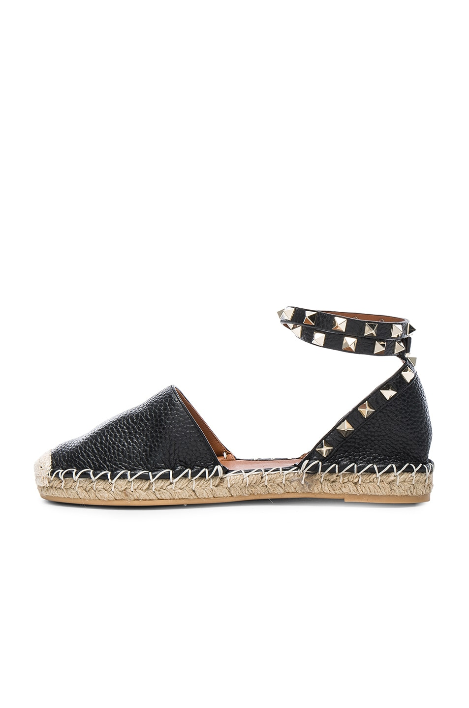 Image 5 of Valentino Rockstud Double Flat Leather Espadrilles in Black