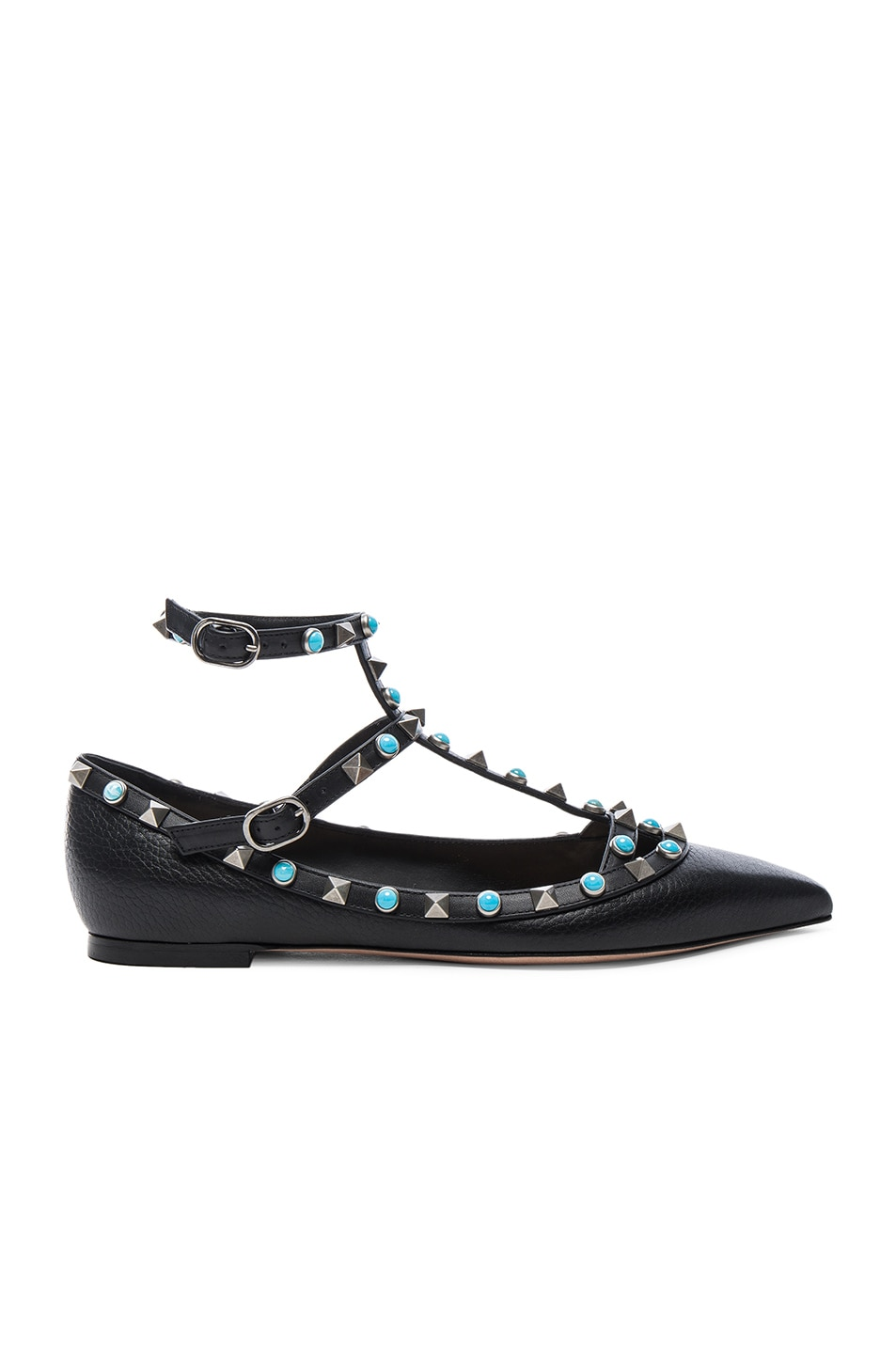 b1b4a458a155e Image 1 of Valentino Rockstud Leather Rolling Cage Flats in Black