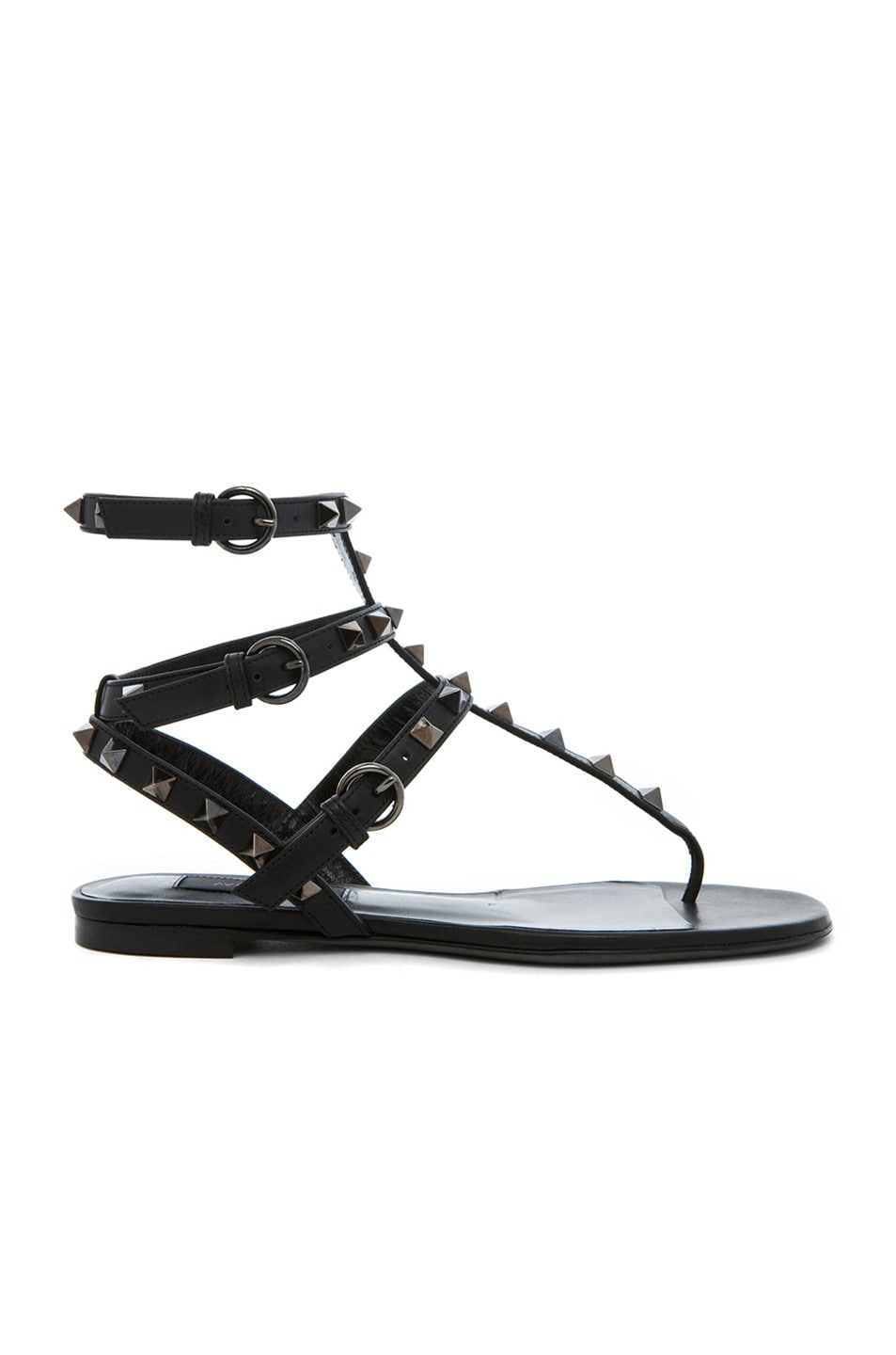 Image 1 of Valentino Rockstud Noir Gladiator Leather Sandals T.05 in Ruthenium Black