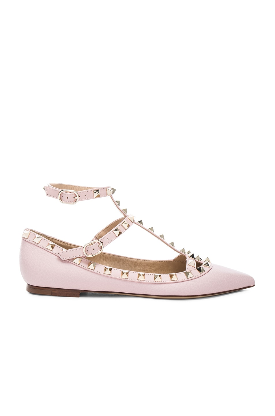 Image 1 of Valentino Rockstud Leather Cage Flats in Water Rose