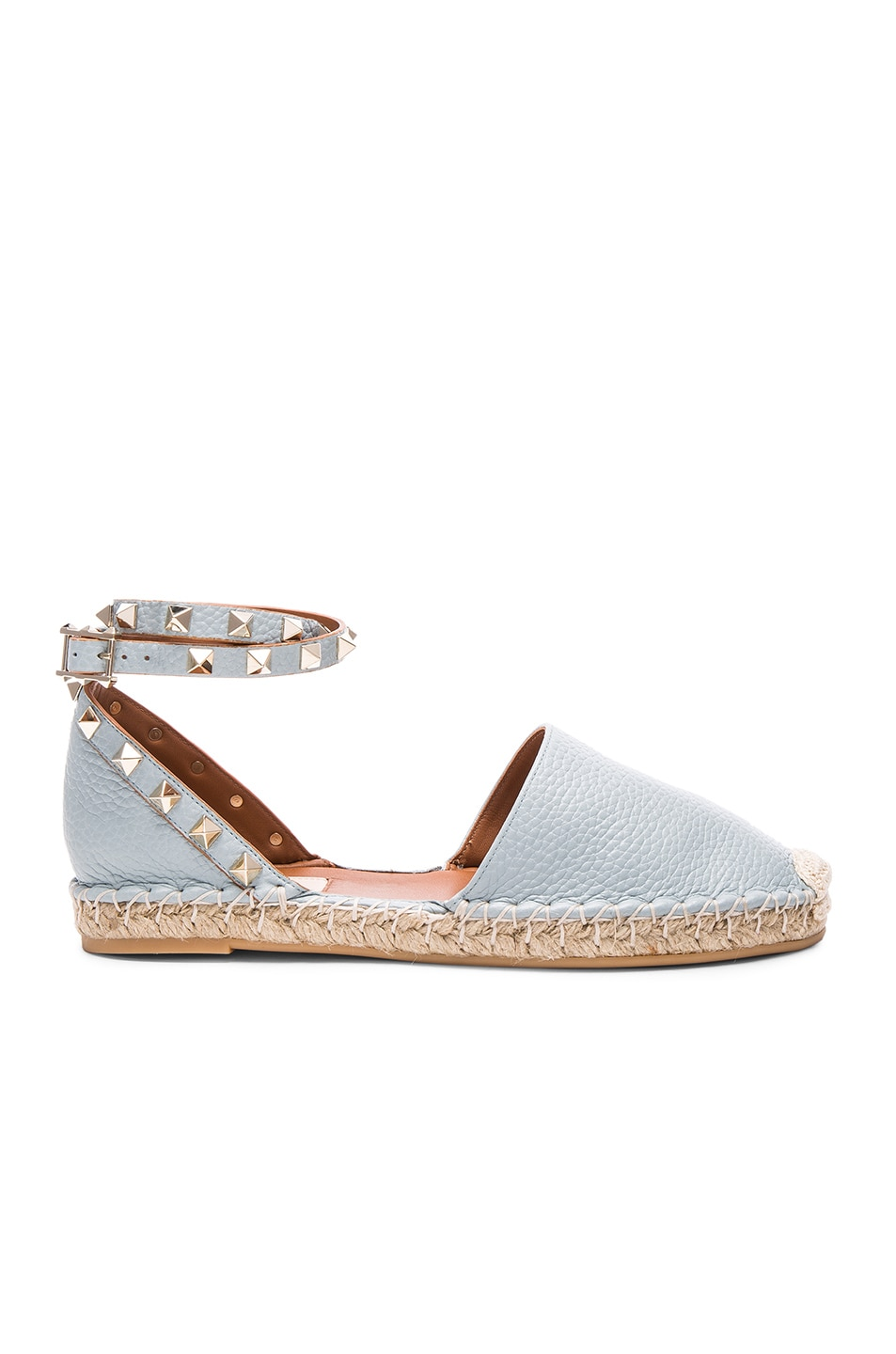 Image 1 of Valentino Rockstud Double Flat Leather Espadrilles in Sky Sorbet