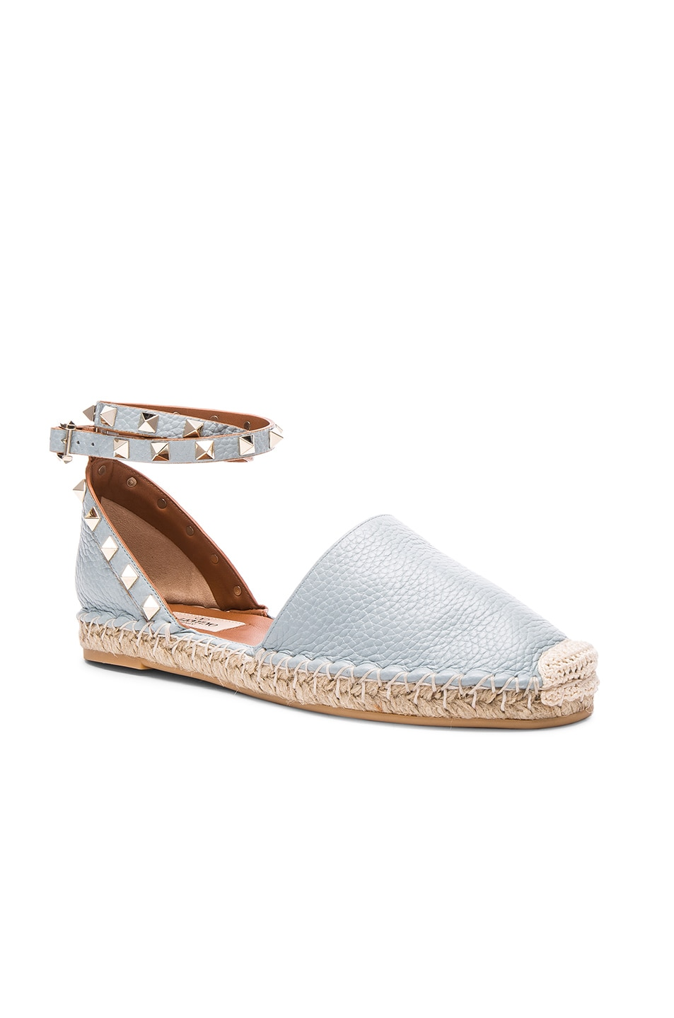 Image 2 of Valentino Rockstud Double Flat Leather Espadrilles in Sky Sorbet