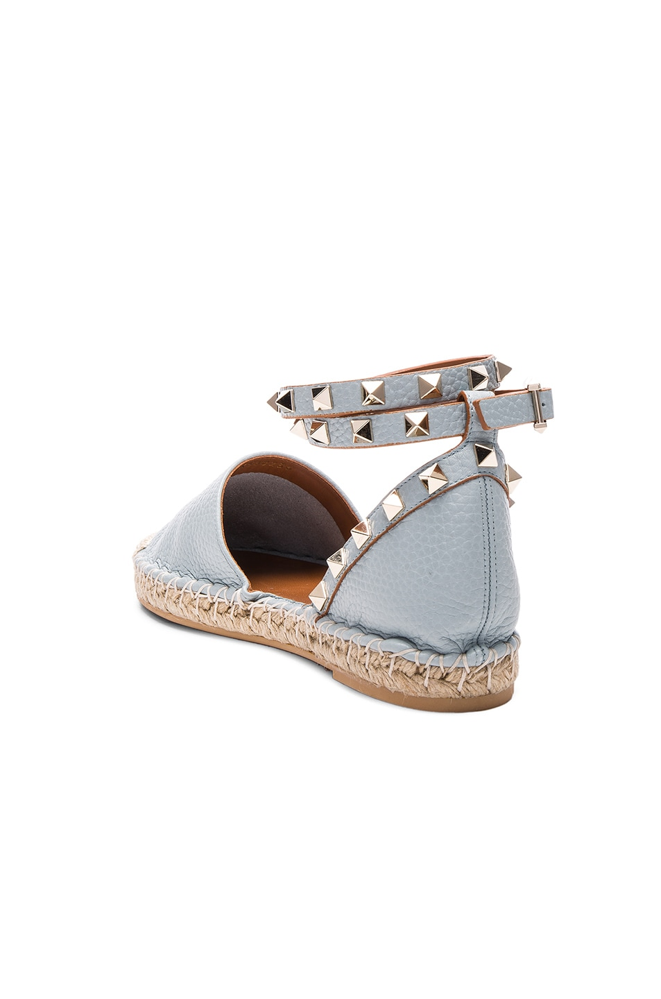Image 3 of Valentino Rockstud Double Flat Leather Espadrilles in Sky Sorbet