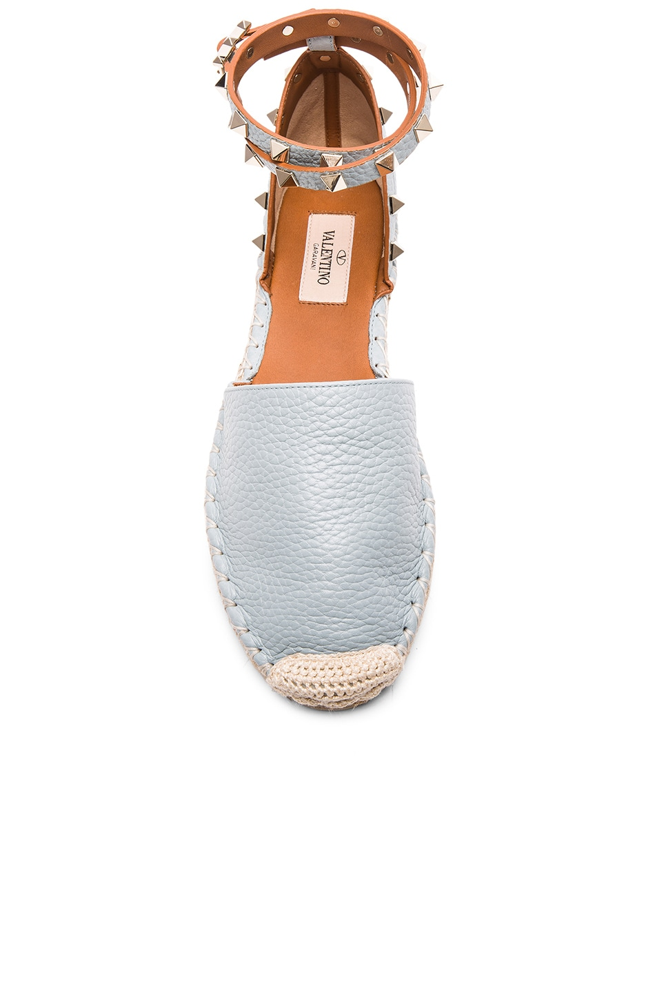 Image 4 of Valentino Rockstud Double Flat Leather Espadrilles in Sky Sorbet