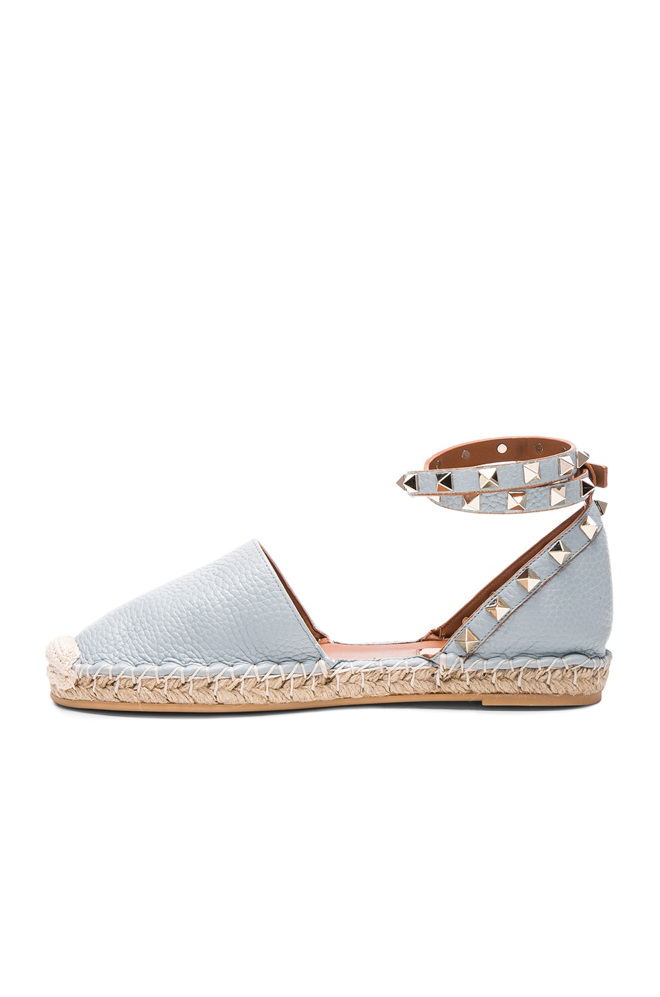Image 5 of Valentino Rockstud Double Flat Leather Espadrilles in Sky Sorbet
