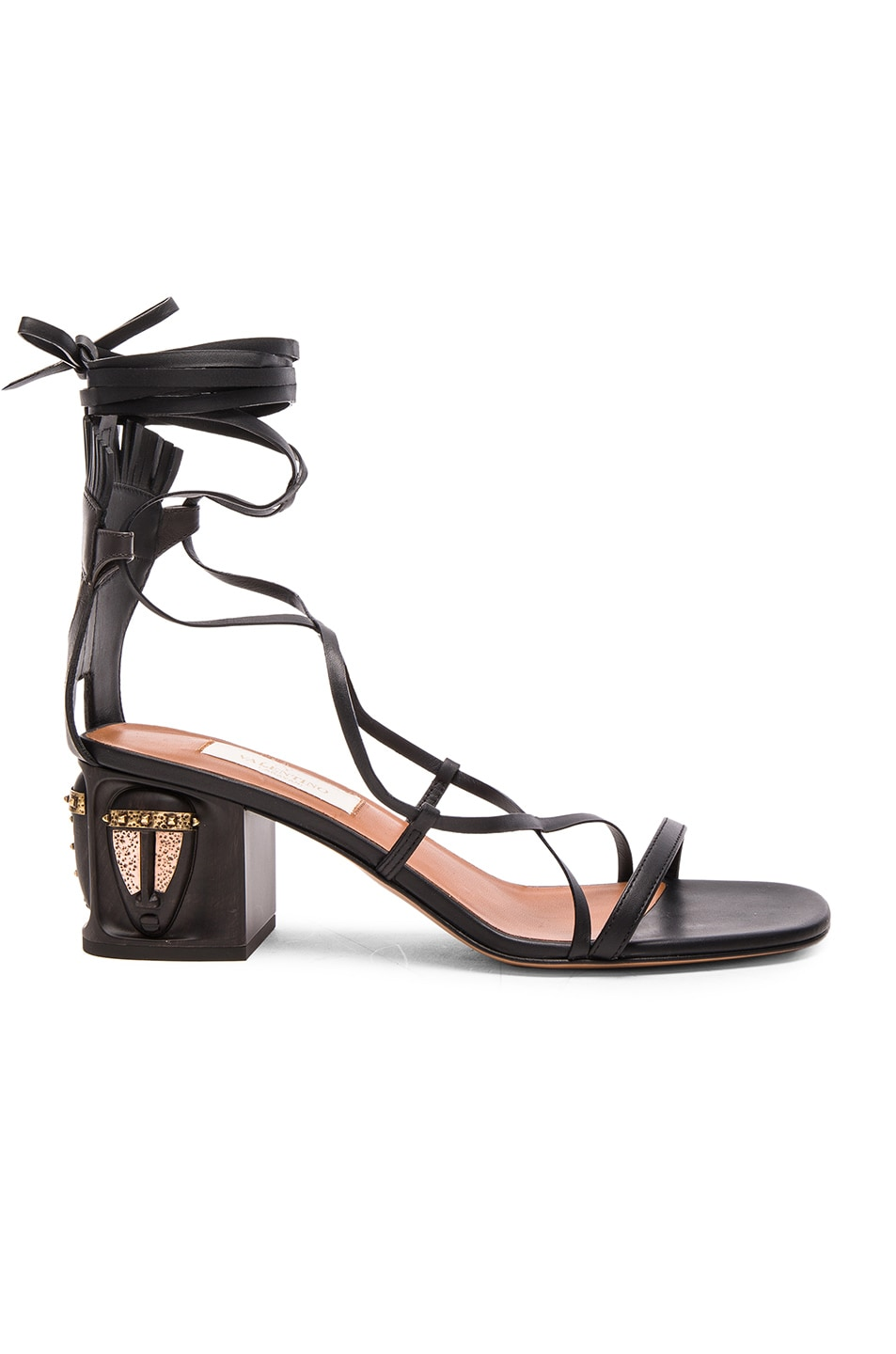 Image 1 of Valentino Tribe Gladiator Leather Heeled Sandals in Black & Deep Ebano