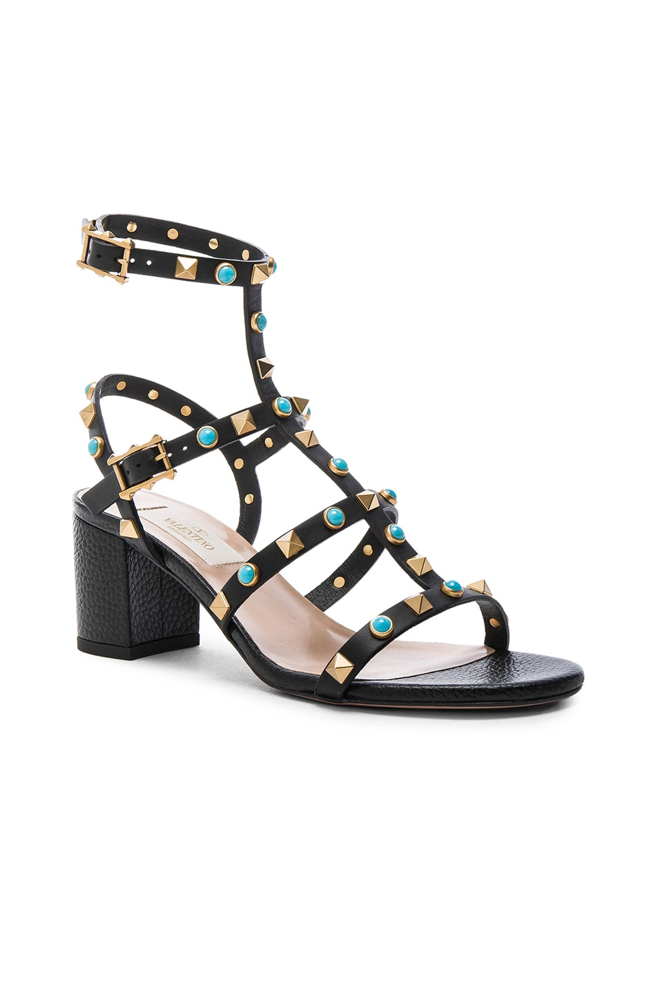 Image 2 of Valentino Rockstud Leather Rolling Gladiator Sandals in Black