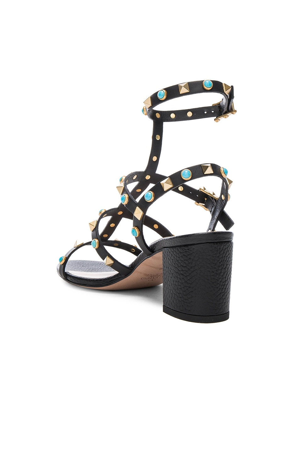 Image 3 of Valentino Rockstud Leather Rolling Gladiator Sandals in Black