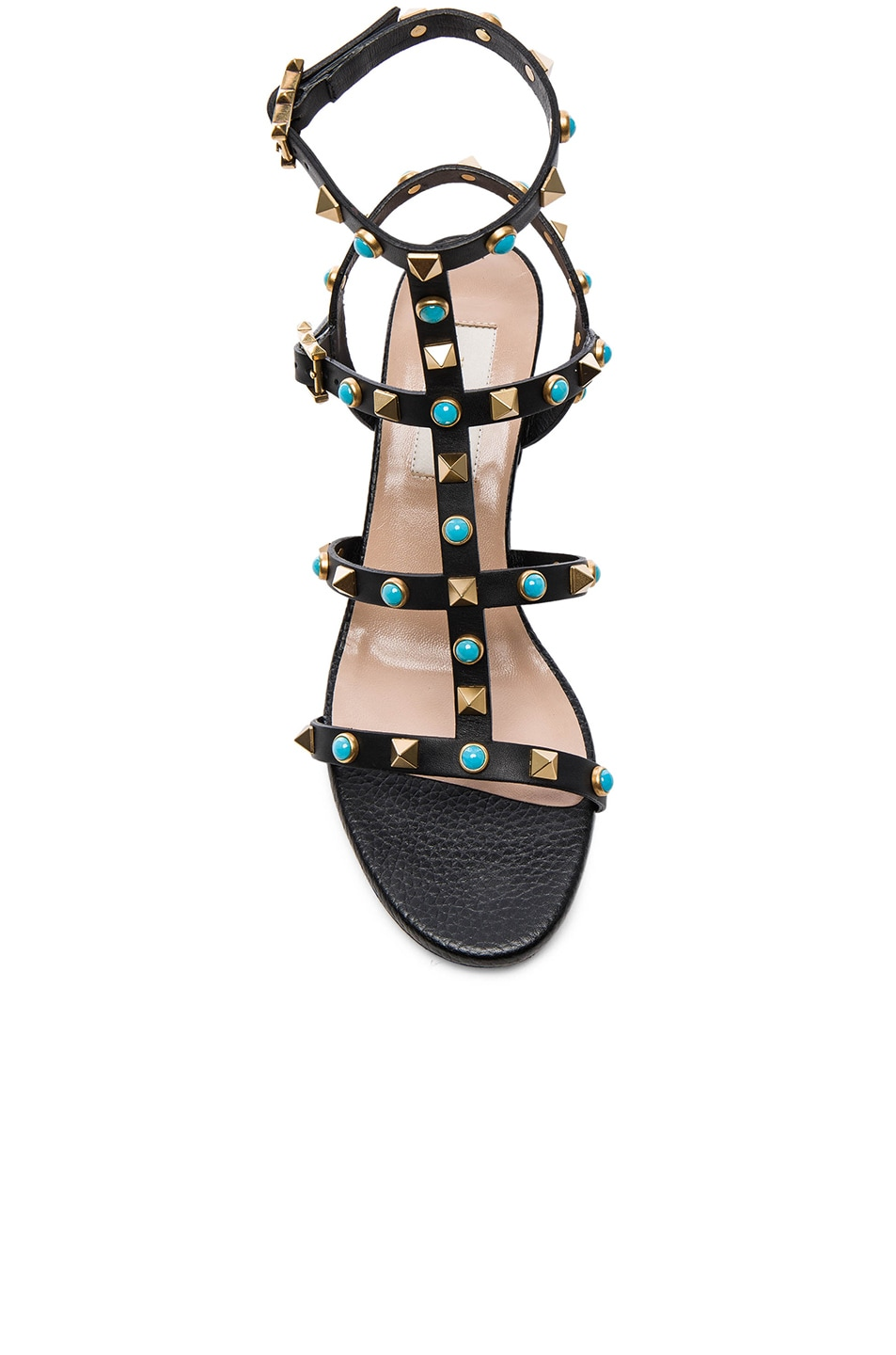 Image 4 of Valentino Rockstud Leather Rolling Gladiator Sandals in Black
