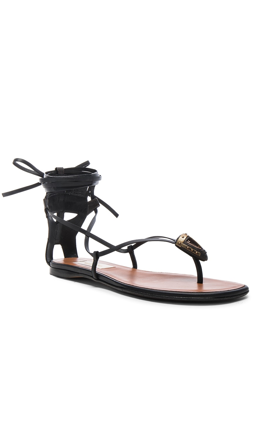3ba548d8f6c Image 2 of Valentino Tribe Gladiator Leather Flat Sandals in Black   Deep  Ebano