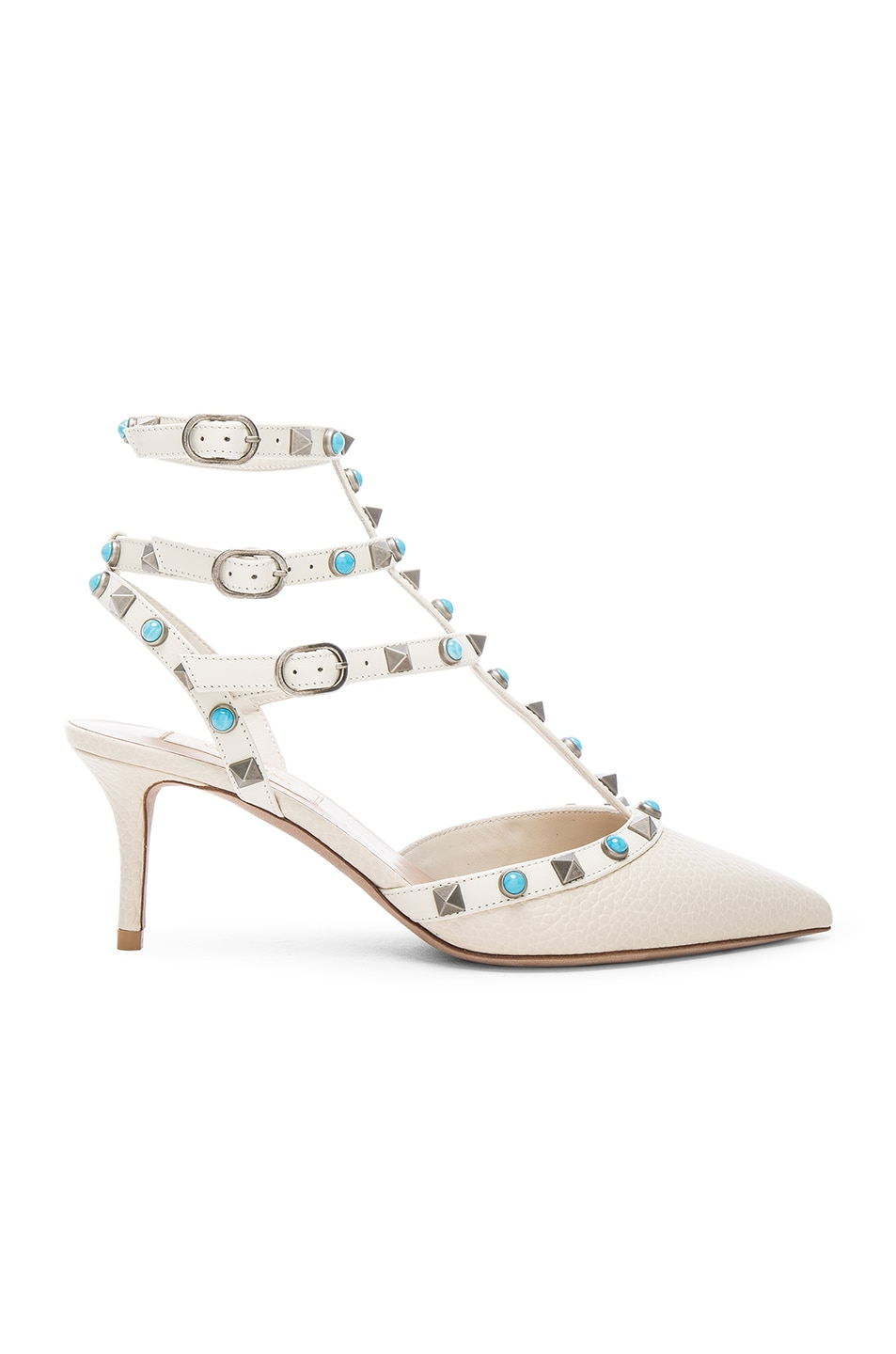 Image 1 of Valentino Rockstud Leather Rolling Heels in Light Ivory