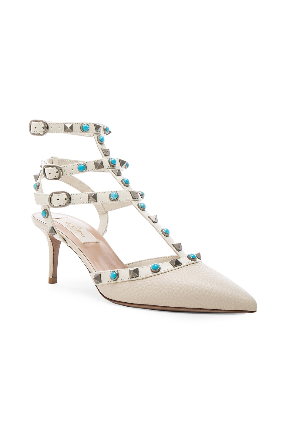 Image 2 of Valentino Rockstud Leather Rolling Heels in Light Ivory