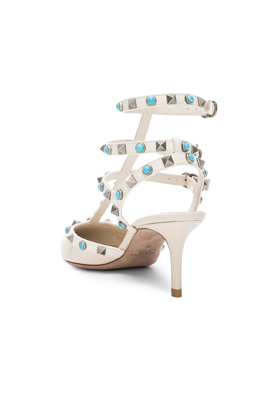 Image 3 of Valentino Rockstud Leather Rolling Heels in Light Ivory