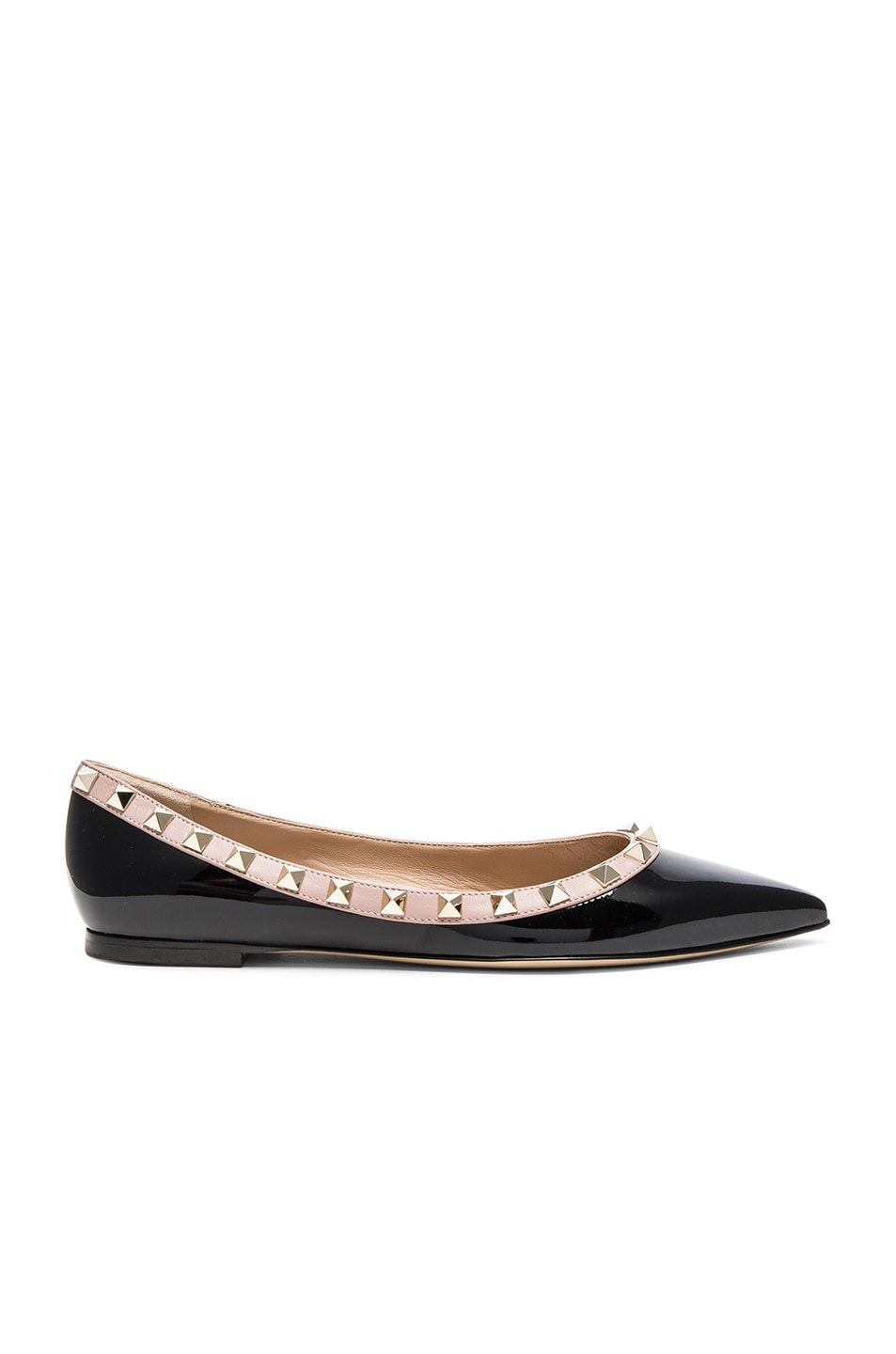 Image 1 of Valentino Leather Rockstud Ballerina Flats in Black & Poudre