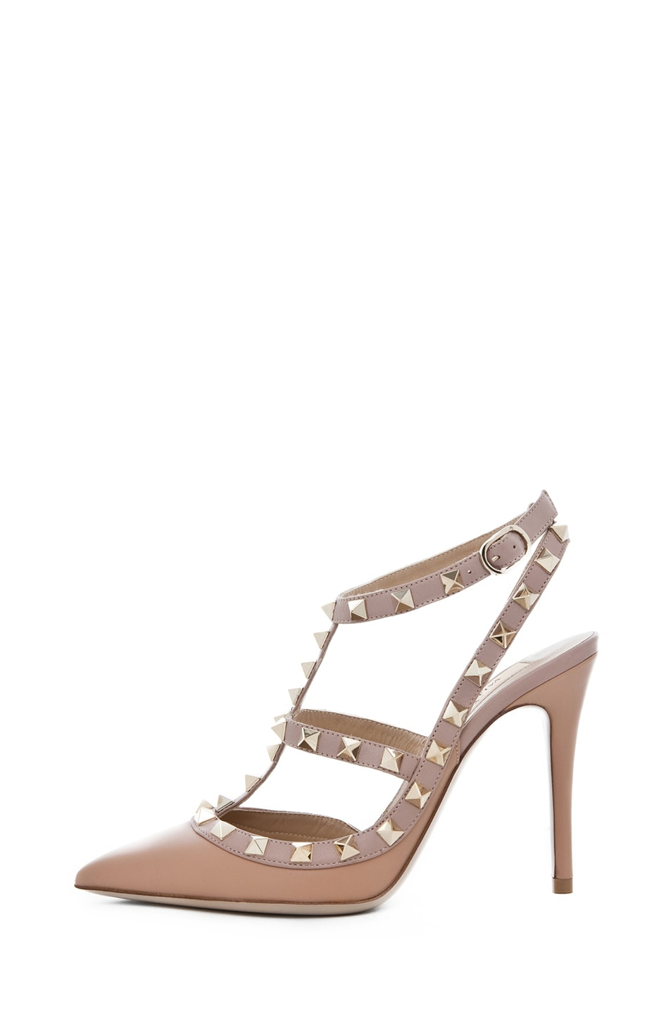 Image 1 of Valentino Rockstud Nappa Leather Sling Back T.100 in Hazelnut & Nude & Platinum