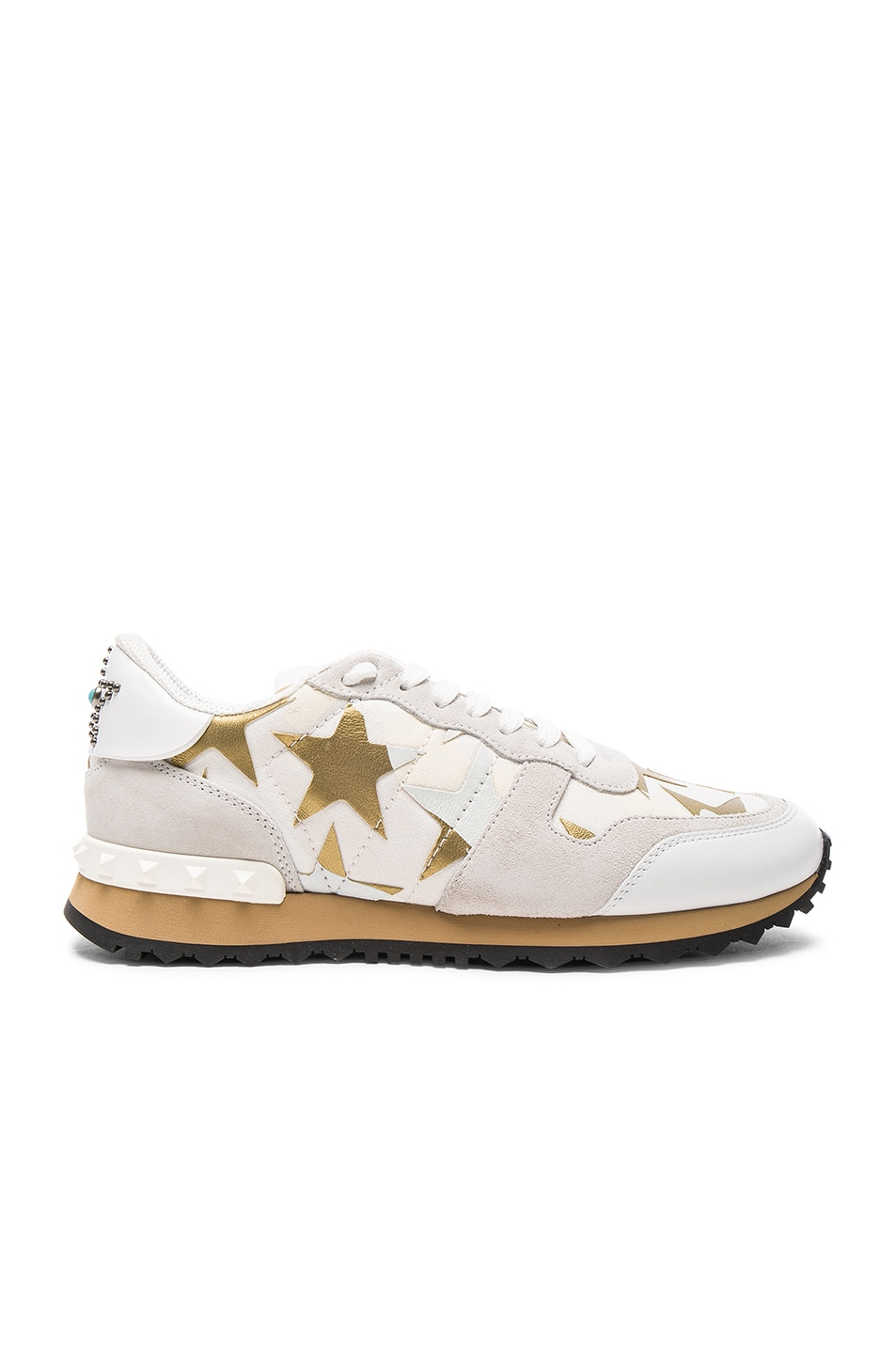 Image 1 of Valentino Canvas & Suede Sneakers in Bianco, Gold, & Multi