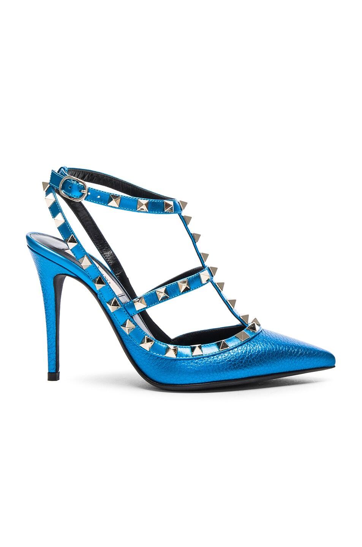 Image 1 of Valentino Leather Rockstud Slingbacks T.100 in Light Blue