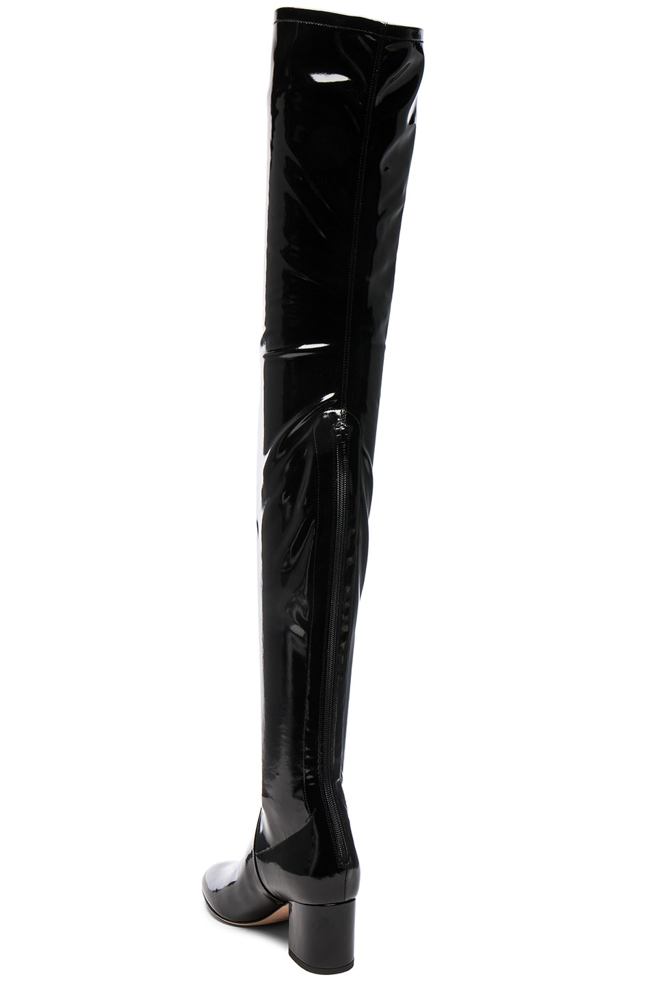 Image 3 of Valentino Patent Leather Over The Knee Booties in Nero