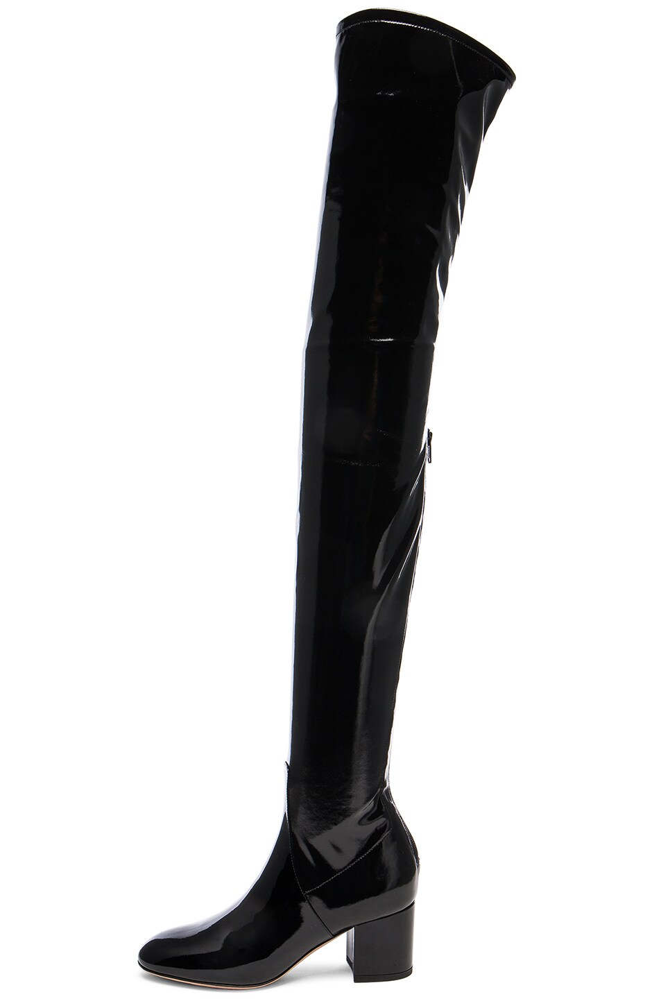 Image 5 of Valentino Patent Leather Over The Knee Booties in Nero
