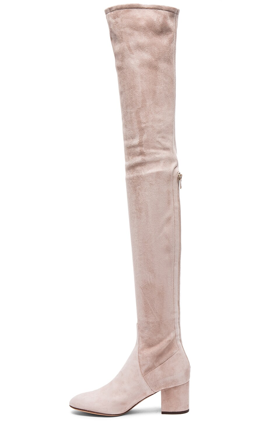 Image 5 of Valentino Suede Over The Knee Booties in Poudre