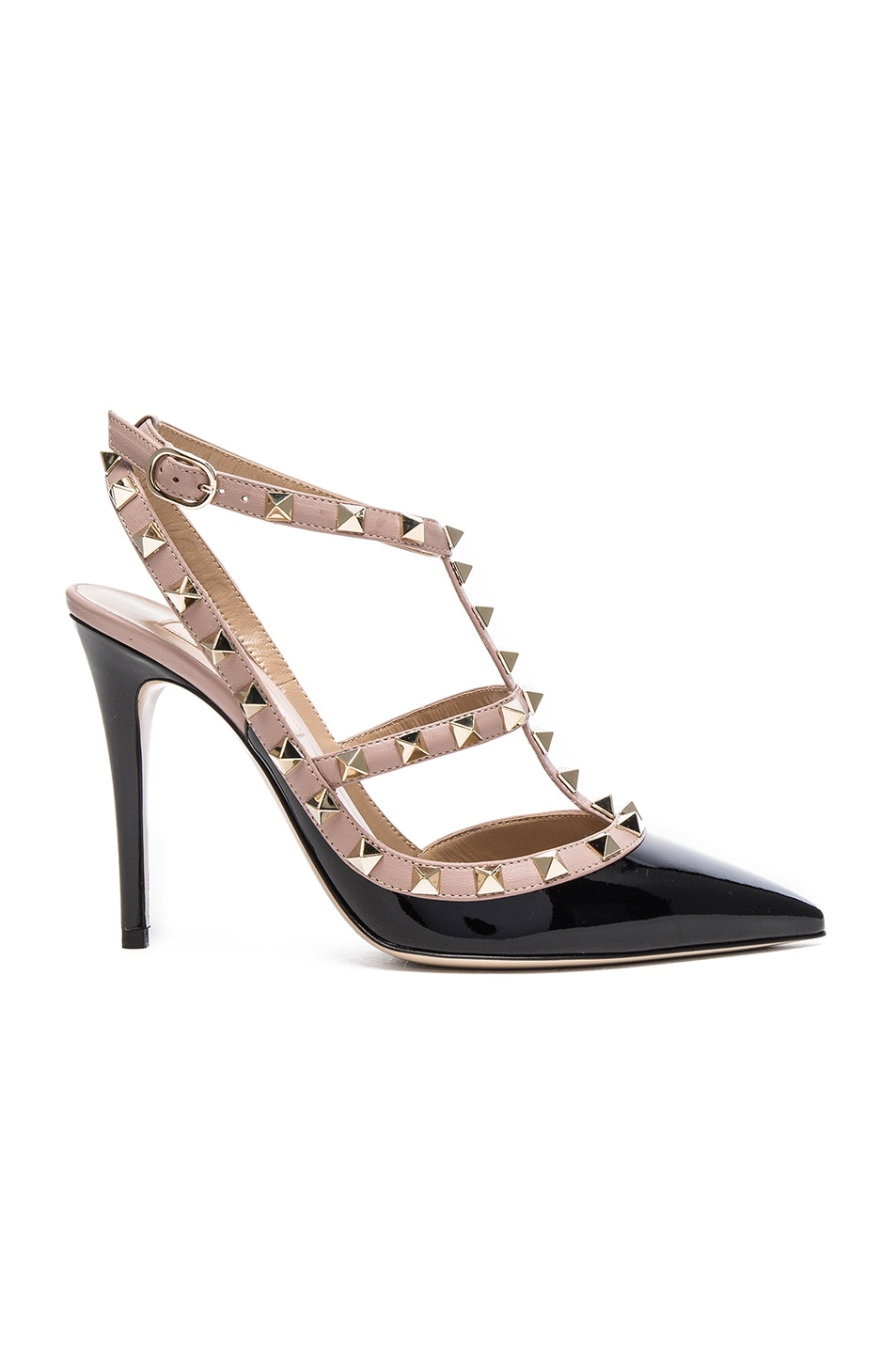 Image 1 of Valentino Rockstud Patent Leather Ankle Strap Heels in Black & Poudre
