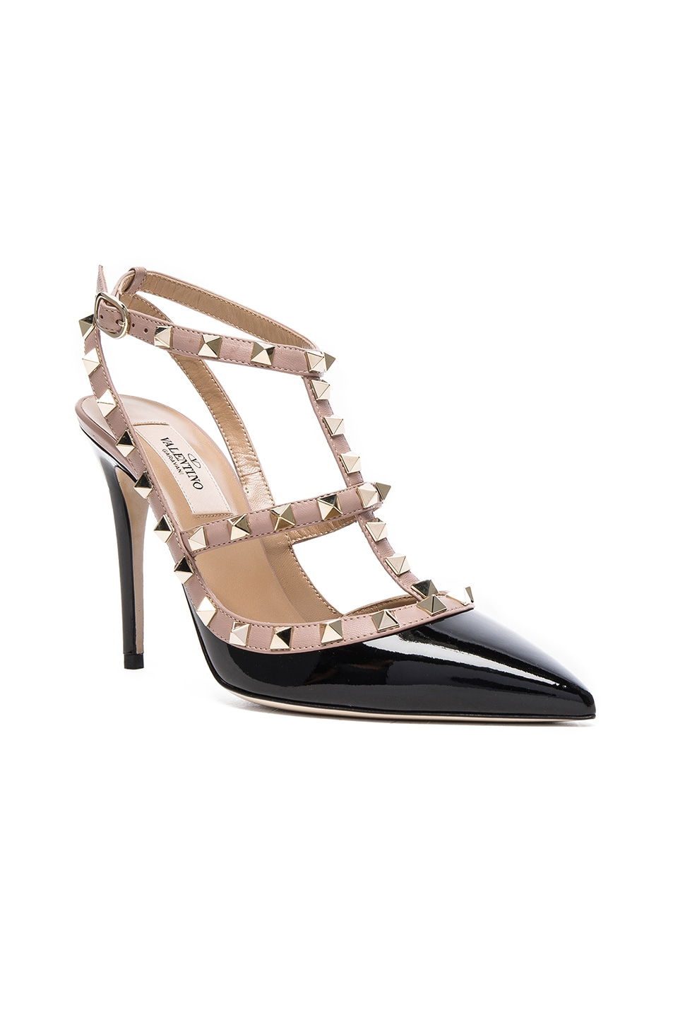 Image 2 of Valentino Rockstud Patent Leather Ankle Strap Heels in Black & Poudre