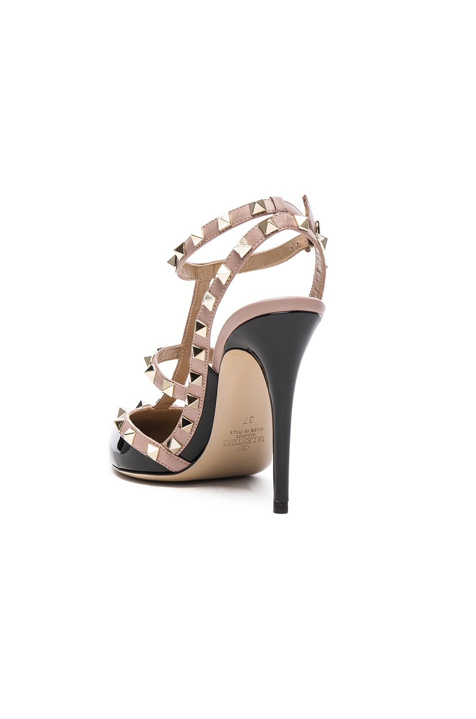 Image 3 of Valentino Rockstud Patent Leather Ankle Strap Heels in Black & Poudre